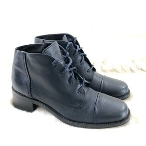 Nine West Navy Blue Leather Lace Up Ankle Boots